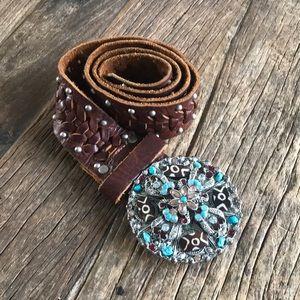 Leatherock Brown Leather Silver Embellished Belt